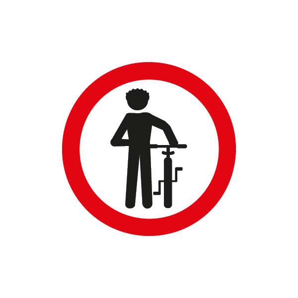 señalización reglamentaria ciclistas - obligatorio descender de la bicicleta